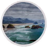 Ecola Viewpoint Round Beach Towel