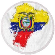 Ecuador Painted Flag Map Round Beach Towel