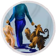Eddie Dancing With Dogs Round Beach Towel