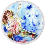Eddie Van Halen Playing The Guitar.1 Watercolor Portrait Round Beach Towel