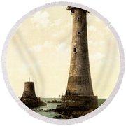Eddystone Lighthouse Plymouth England Round Beach Towel