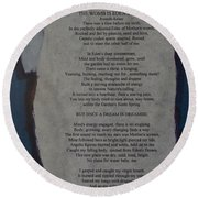 Eden's Womb Poem Collage Round Beach Towel