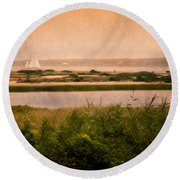 Edgartown Lighthouse Round Beach Towel