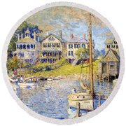 Edgartown  Martha's Vineyard Round Beach Towel by Colin Campbell Cooper