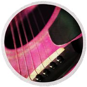 Edgy Pink Guitar  Round Beach Towel