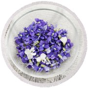 Edible Violets  Round Beach Towel