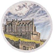 Edinburgh Castle Painting Round Beach Towel