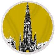 Edinburgh Skyline Scott Monument - Gold Round Beach Towel