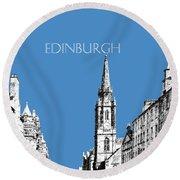 Edinburgh Skyline The Royal Mile - Slate Round Beach Towel