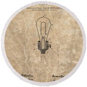 Edison Electric Lamp Patent Marble Round Beach Towel