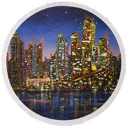 Edmonton Night Lights Round Beach Towel