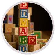 Edward - Alphabet Blocks Round Beach Towel