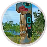 Edward Smarch Totem Pole At Teslin Tlingit Heritage Memorial Center In Teslin-yt Round Beach Towel