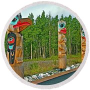 Edward Smarch Totem Poles At Teslin Tlingit Heritage Memorial Center In Teslin-yt Round Beach Towel