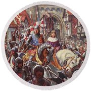 Edward V Rides Into London With Duke Round Beach Towel