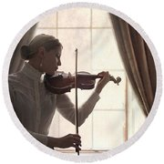 Edwardian Woman Playing Violin At The Window Round Beach Towel