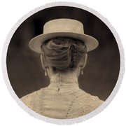 Edwardian Woman With Straw Boater Rear View Round Beach Towel