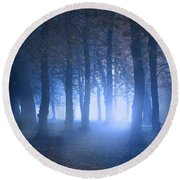 Eerie Woodland Scene At Nigh Time In Fog Round Beach Towel
