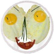Egg Face Round Beach Towel
