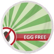 Egg Free Banner Round Beach Towel