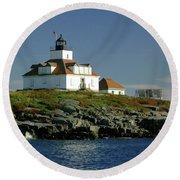 Egg Rock Lighthouse Round Beach Towel
