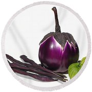 Eggplant Tomatillos And Beans Round Beach Towel