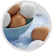 Eggs In Bowl Round Beach Towel