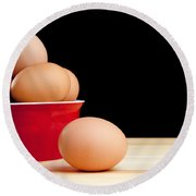Eggs On Bench Round Beach Towel