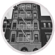 Egress Building In Black And White Round Beach Towel