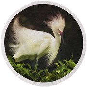 Egret 12 Round Beach Towel