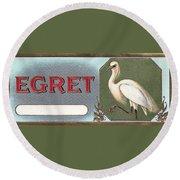 Egret Cigar Label Round Beach Towel