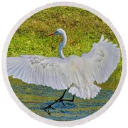 Egret Full Wing Span Round Beach Towel