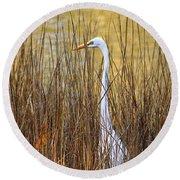 Egret In The Grass Round Beach Towel