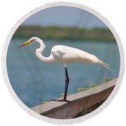 Egret On A Pier Round Beach Towel