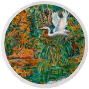 Egret Reflections Round Beach Towel
