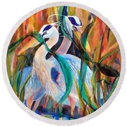 Egrets In Red 2            Round Beach Towel