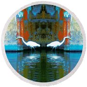 Egrets Nest In A Palace Round Beach Towel