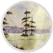 Egrets Over Wakulla Springs Round Beach Towel