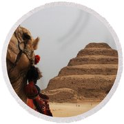 Egypt Step Pyramid Saqqara Round Beach Towel