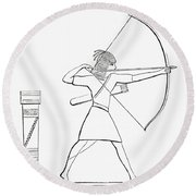 Egyptian Archer And Quiver.  From The Imperial Bible Dictionary, Published 1889 Round Beach Towel