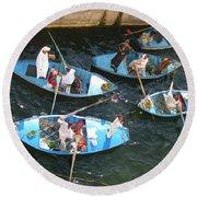 Egyptian Entrepreneurs At The Canal Locks Round Beach Towel