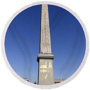 Egyptian Obelisk At The Place De La Concorde In Paris France Round Beach Towel