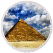 Egyptian Pyramid Round Beach Towel