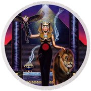 Egyptian Queen Round Beach Towel