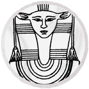 Egyptian Symbol Hathor Round Beach Towel