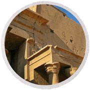 Egyptian Temple Architectural Detail Round Beach Towel