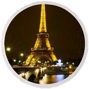 Eiffel At Night Round Beach Towel