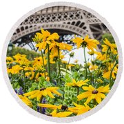 Eiffel Flower Round Beach Towel