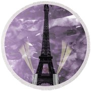 Eiffel Tower - Paris - Love Round Beach Towel