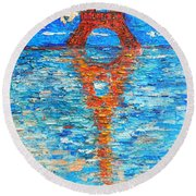 Eiffel Tower Abstract Impression Round Beach Towel